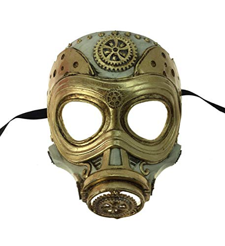 KBW Adult Unisex Steampunk Gold Gas Mask, Vintage Victorian Style Retro Punk Rustic Gothic Motorcycle Pilot Aviator Eyewear Headgear Costume Accessories Novelty Costume Accessories