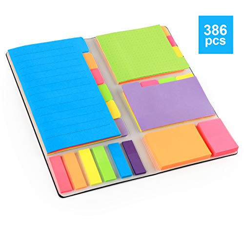 Agoer Haftnotizen Set Klebezettel Haftstreifen Notizzettel Sticky Notes Pagermarker mit Beschreibbaren Etiketten Seiten für Bürobedarf Haushalt, 386 Stück