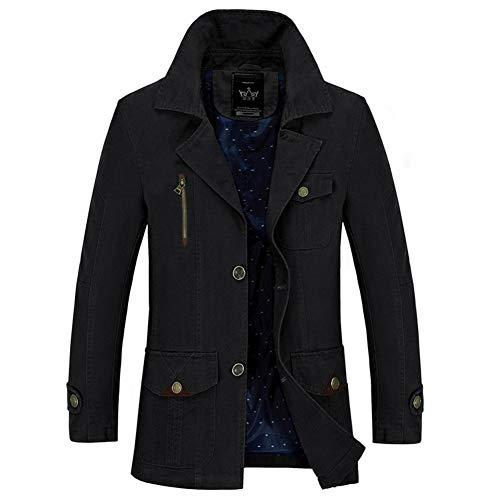 GZL Mens Long Double Breasted Trench Coat Gentlemen Formal Wear Jacket Overcoat Outfits Pea Coats,Black,XXXL