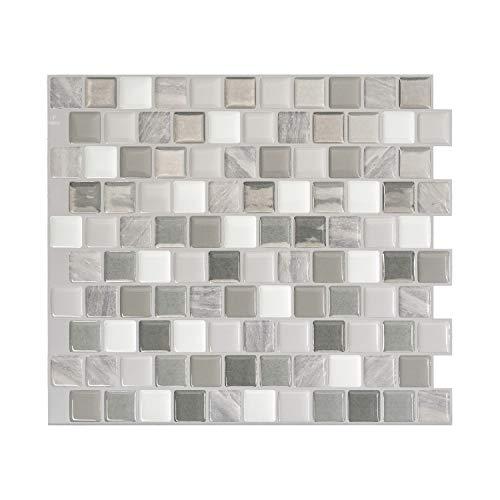 SMART TILES Azulejos autoadhesivos Brixia Cassoria – 4 hojas de 25,9 cm x 22,8 cm – Adhesivos 3D para azulejos – Protección contra salpicaduras para cocina o baño