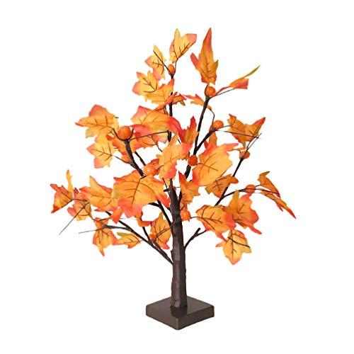 OSALADI LED Beleuchtete Ahorn Baum Halloween Kürbis Licht Ahorn Blatt Lampe Tisch Herzstück für Die Ernte Thanksgiving Urlaub Herbst Schreibtisch Dekorationen