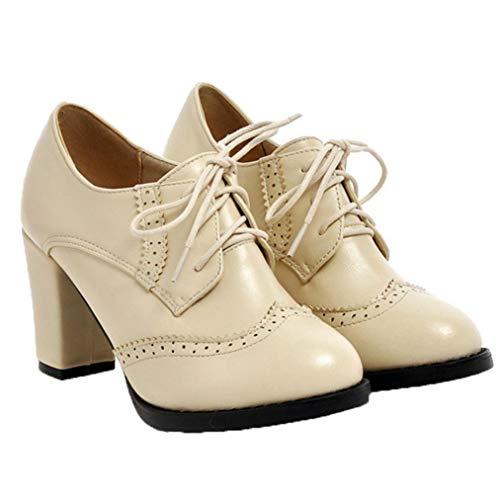 Frauen-Absatzschuhe Glattleder schnüren Sich Oben mittlere Hallo Schuh-runde Hauptgeschäfts-Schuhe für Partei-Hochzeit