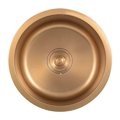 Fregadero redondo de acero inoxidable 304 de oro pequeño fregadero de una sola ranura paquete de cocina lavabo lavavajillas...
