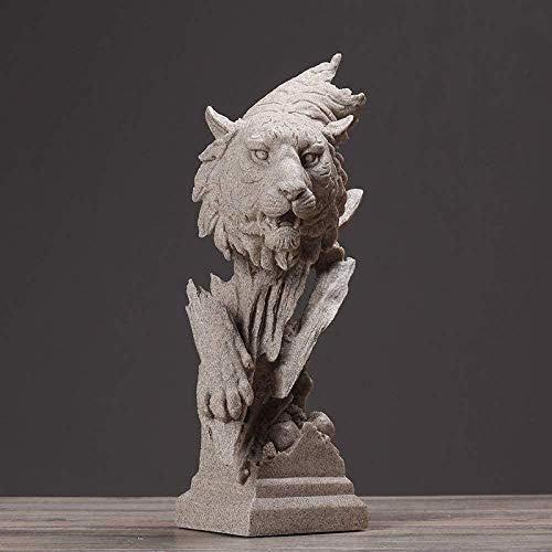 GHFT Estatuilla Disfraz Escultura figurilla Tigre Busto Resina Cabeza Animal Escultura Obra Sala Regalo
