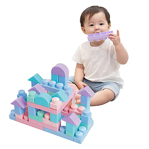 MOOMU Soft Building Blocks Set for Toddlers, Baby Ages 6 Month Old and up, STEM Montessori Preschool Learning Stacking Block Kit, Educational Safe Playing Toys, Girl Boy Kids, 40 Pieces Sets