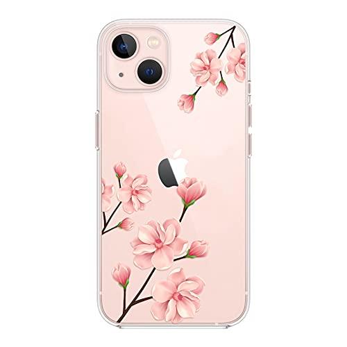 Kristallklar Handyhülle Kompatibel mit iPhone 13 Mini Hülle, Schlank Weich Flexibel Dünne Klar Silikon Hülle, Cover Transparent mit Motiv Blumen Schützt vor Stößen Hülle 5,4 Zoll - Kirschblüten