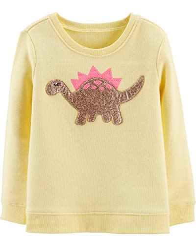 Osh Kosh Girls' Toddler Sequin Crew Neck Sweatshirt, Dino Glitter, 4T