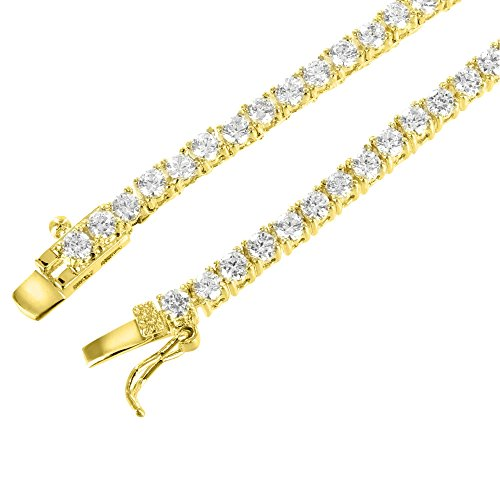 22 Inch Tennis Link Necklace 14k Gold Finish Cubic Zirconia 3mm Chain