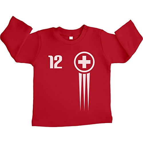 Maglia Bimbo Fan Calcio Svizzera! Maglietta Neonato Manica Lunga Unisex 3-6 Mesi Rosso