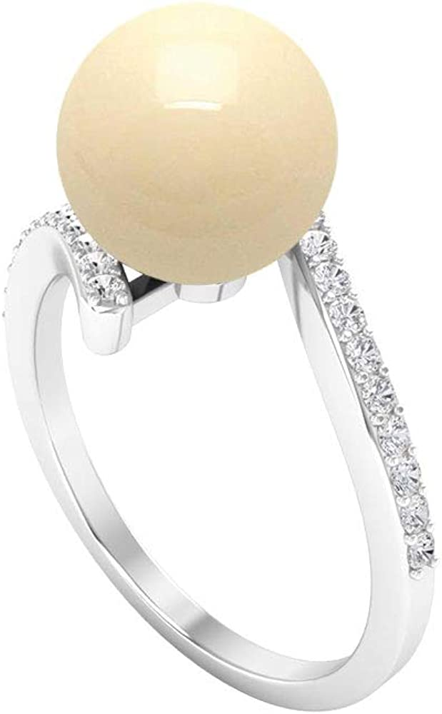 9 MM Pearl Engagement Ring, Bypass Ring, Diamond Accent Rings For Women 14K White Gold