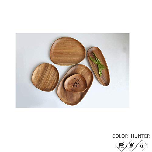 Color Hunter Serving Dish 丨Plates for snacks and dessert 丨Lightweight 丨Acacia Wood 丨16132cm