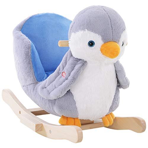 HOMCOM Children Kids Animal Rocking Horse Penguin Plush Musical Button 32 Songs Kid Rocker