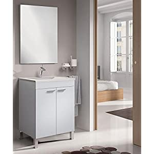 SERMAHOME- Conjunto de Baño Modelo Classic. Mueble de Lavabo + Espejo + Lavabo. Color Blanco Brillo.