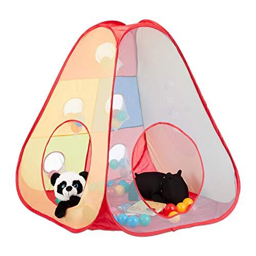 Relaxdays Zelt Bällebad, 50 Bälle, Spielzelt ab 3 Jahre, Pop Up Kinderzelt, Indoor und Outdoor, H x B 100 x 95 cm, bunt