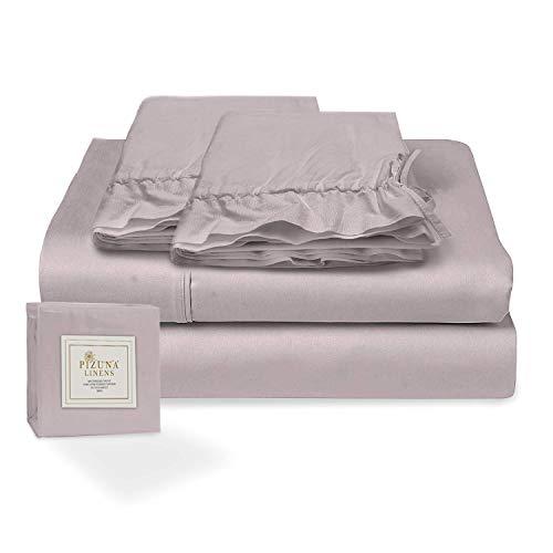 Pizuna Juego de sábanas algodón de 400 Hilos Gris Lila Cama 180cm, 100% algodón Tejido de satén Suave y Transpirable con 1 sábana Plana + 1 sábana Ajustable + 2 Cilíndrica Fundas de Almohada