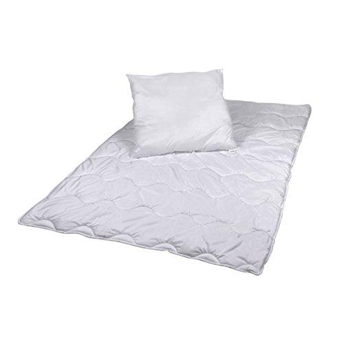PREMIUM Steppbettdecke 135 x 200 cm & Kopfkissen 80 x 80 cm ✓ Für Allergiker ✓ Waschbar ✓ Ganzjahresdecke | Vierjahreszeiten-Bett mit Klimafaser | Steppdecke + Kissen als Bettset in Normale Größe