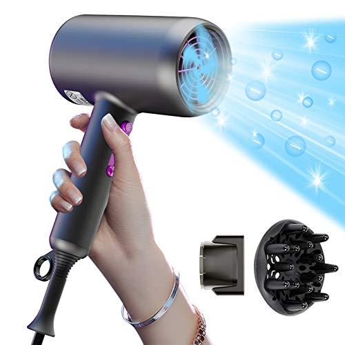 Professioneller Ionen Haartrockner, EVARY 3 in1 schnell trocknender Salon-Haartrockner, Föhn mit Styling-Düsendiffusor, doppelter NTC Überhitzungsschutz, 3-Gang-Temperatur - klein, leise - zu Hause
