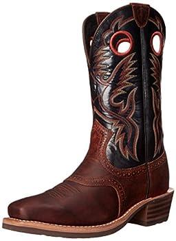 Ariat Men s Heritage Roughstock Western Cowboy Boot Bar Top Brown/Shiny Black 10 2E US