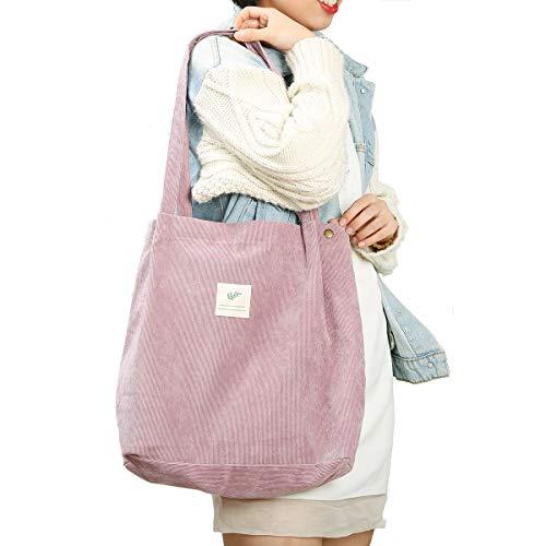 Cloele Cord Umhängetasche Damen, Handtasche cord mit Innentasche, Leicht Damen-Schultertaschen Tasche Shopper für Uni Arbeit Reisen und Einkaufen (Rosa)