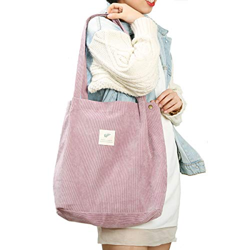 Gophra Corduroy Tote Bag for Women Girls Kids Shoulder Bag with Inner Pocket For Work Beach Lunch Travel And Shopping Grocery (Pink)