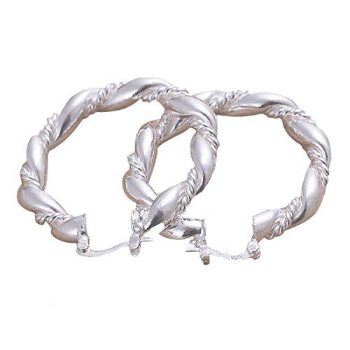 Elegantes y Modernos Pendientes de aro joyliveCY para Mujer, Hechos en Plata de Ley con Compatible Conma de Cuerda torcida