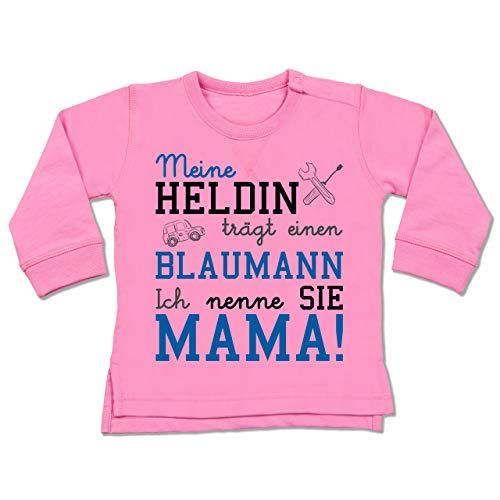 Shirtracer Anlässe Baby - Meine Heldin trägt einen Blaumann Mama - 6/12 Monate - Pink - blaumann Baby - BZ31 - Baby Pullover