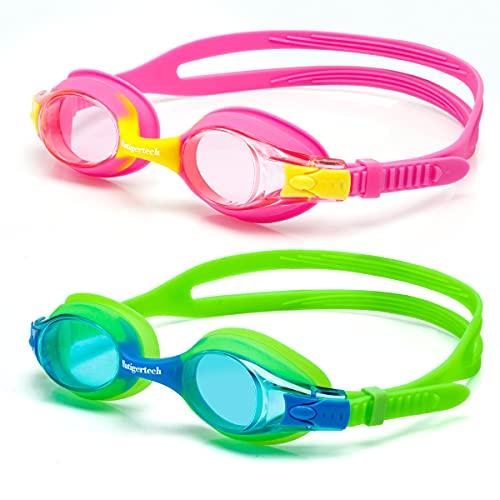 Hutigertech Kinder Schwimmbrille 2 Stück, Schwimmbrille für Kinder Junior Antibeschlag Lecksicher Wasserdicht Weiches Silikon Kinder Schwimmbrille Größenverstellbar Premium Swimming Goggles