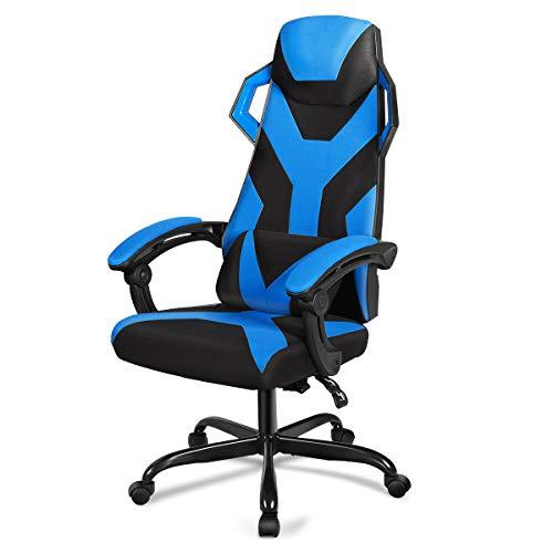 GIANTEX Silla de gaming con masaje, silla de carreras ajustable en altura, silla de ordenador giratoria 360°, incluye reposacabezas y cojín lumbar, diseño ergonómico para gamer (azul)