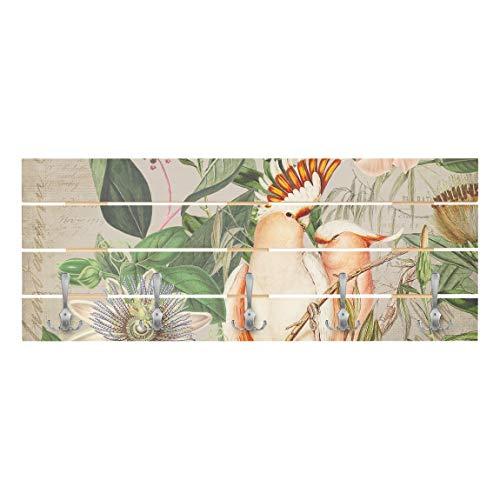 Bilderwelten Wandgarderobe Holz Colonial Style Collage Rosa Kakadu Haken Chrom Querformat 40 x 100cm