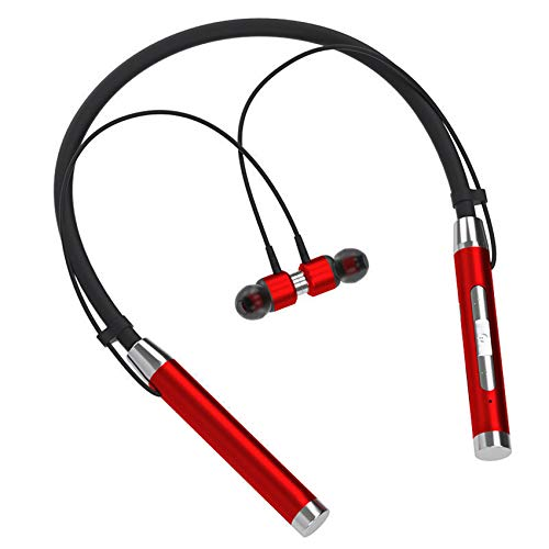 JIE. SXRTLAuriculares Bluetooth en audífonos inalámbricos para el oído Auriculares magnéticos Corriendo Auriculares 24h Tiempo de reproducción Tiempo inalámbrico Teléfono móvil,Rojo