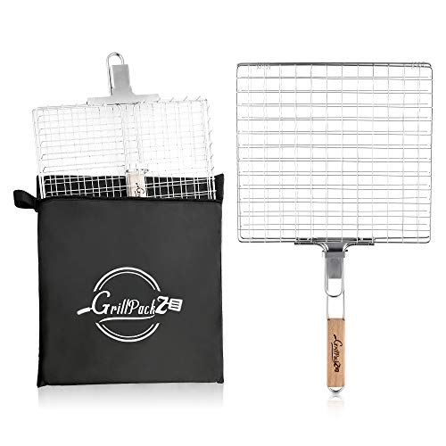 GrillPackz BBQ Grill Basket – Portable Stainless-Steel BBQ Grilling...