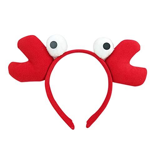 Amosfun Diadema de Cangrejo Sombrero de Pez de Felpa Disfraz Divertida de Pez Diadema para Fiesta Infantil Rojo