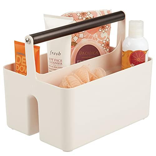 mDesign Caja organizadora para cuarto de baño – Cesta con asa metálica para el almacenamiento de productos cosméticos – Organizador de baño con 2 compartimentos – crema/bronce