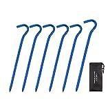 OMUKY Zeltheringe, leicht, Aluminiumlegierung, widerstandsfähig, mit Aufbewahrungstasche (blau, 6...
