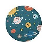 vinlin Round Placemat Set of 1 Cartoon Solar System,Poliéster Non Slip Resistant Table Place Mat for Kitchen Dining Table Decor, poliéster, multicolor, 1 piece
