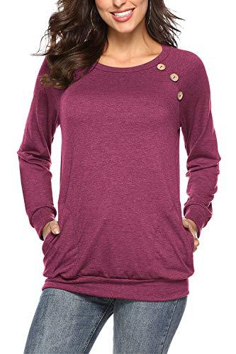NICIAS Damen Langarmshirt Pullover Lässige Rundhals Sweatshirt Schaltflächen Hemd T Shirt Bluse Tunika Top mit Taschen Wein L