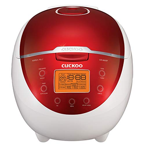 Cuckoo CR-0655F Cooker & Warmer 11-Menu Options, Turbo, Mixed, and Brown/GABA Rice, Porridge, Steam Multi, Mode, 16-Various Cooking Methods, Small, Red/White