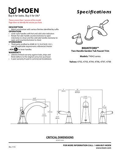 Moen T4943ORB Brantford 2-Handle Deck Mount Roman Tub Faucet Trim Kit Valve Required, Oil Rubbed Bronze