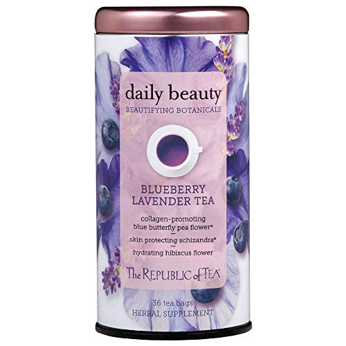 The Republic of Tea Beautifying Botanicals Daily Beauty Blueberry Lavender Herbal Tea Bags(36 count)