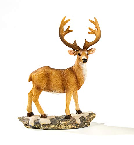 TAOBIAN Standing Deer Animal Miniature Garden Accessories Figurines Statue Desktop Indoor Outdoor Decoration Ornaments Gifts for Mom Girls Boys Adults Birthday Anniversary Yard Lawn Decor