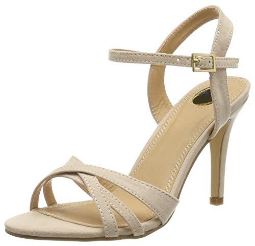 Buffalo Shoes 312703 IMI SUEDE, Damen Knöchelriemchen Sandalen, Beige (NUDE 01), 40 EU