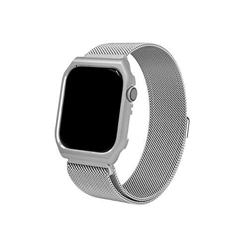 Adecuado para correas de reloj de metal de acero inoxidable Iwatch SeriesSE / 5/4/3/2/1. Con carcasa protectora. Compatible con correa de repuesto de pulsera Apple Watch 38/40/42 / 44mm