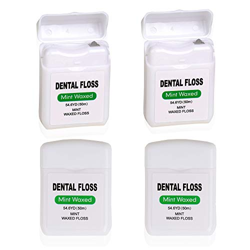 4 Pack Waxed Dental Floss for Plaque and Food Removal, Refreshing Mint Flavor Deep Clean Floss - Natural Waxed for Comfort Flossing Extreme Clean for Adults, Teens, Kids, Perfect Size for Travel