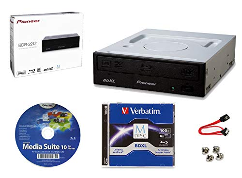 Pioneer BDR-2212 Internal 16x Blu-ray Writer Drive Bundle with Cyberlink Burning Software, 100GB M-DISC BDXL, SATA Cable and Mounting Screws - Burns CD DVD BD DL BDXL Discs