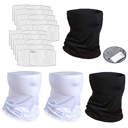 4 Pcs Neck Gaiter Face Cover Scarf with 20 Pcs Carbon Filters - Breathable Gator Mask Bandanas(2B2W+20Filter)