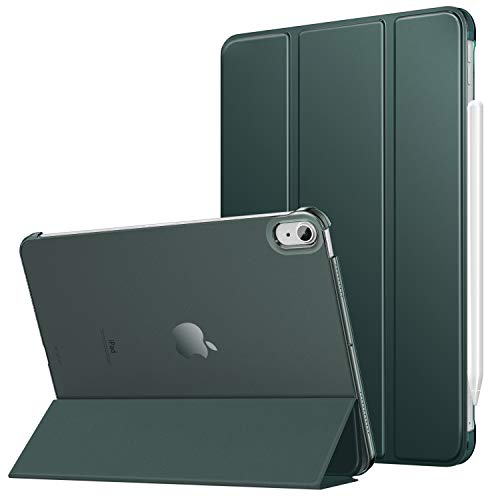 MoKo Case Fit iPad Air 4th Generation 2020 Case New iPad 10.9 2020 - [Support iPencil 2 Charging] Slim Smart Shell Stand Cover with Translucent Frosted Back Protector Auto Wake/Sleep, Midnight Green