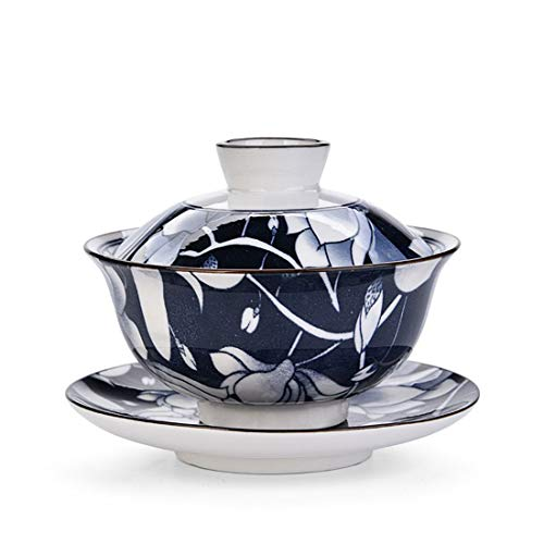 Teacups setQMFIVEChinese Traditional Teaware Blue and White Porcelain Gaiwan Blue Glaze Kungfu Tea bowl with Lid and Saucer - 56oz160ml