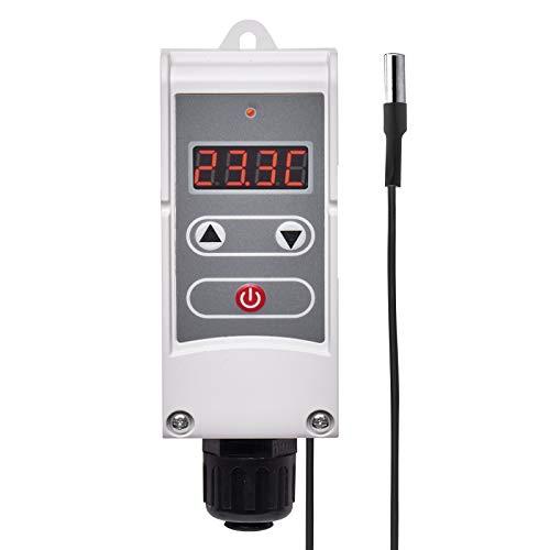EMOS Anlegethermostat mit Fernfühler, einstellbarer Schaltempfindlichkeit und digitalem Display / Rohranlegethermostat Einstellbereich 5 °C bis 90 °C