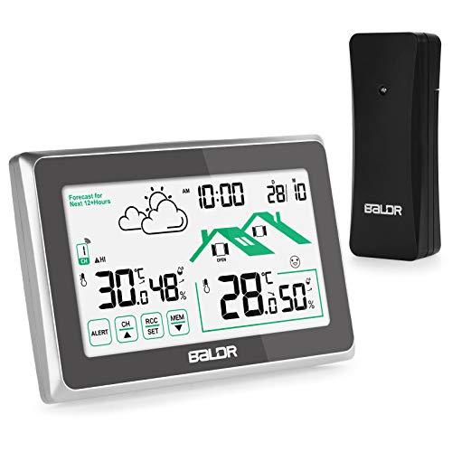 Qomolo Wetterstation Funk mit Außensensor Wireless Hygrometer Thermometer mit LCD-Bildschirm, Wettervorhersage Wetterstationen für Innen und Außen mit Datum Uhrzeit/Frühwarnung Funktion, schwaz