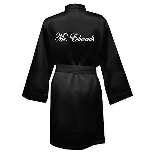Classy Bride Personalized Mr. Satin Groom Robe - Black